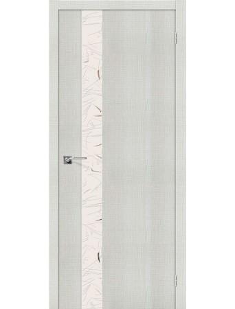 Дверь Порта-51 Бьянко Кросскут с зеркалом